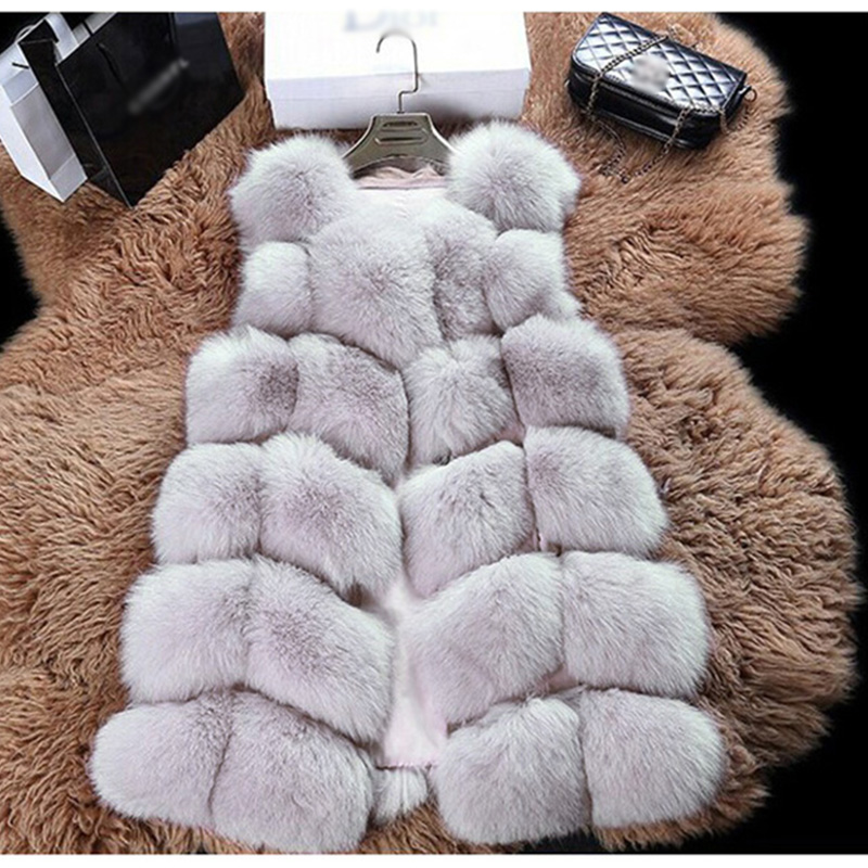 CYAN 2018 New Fashion Faux Fur Coat Winter Women Casual Slim Sleeveless Faux Fox Fur Vest Winter Jacket Women casaco feminino