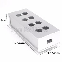Free Shipping One Pieces One Silver US AC Power Supply Distributor Aviation Aluminum Shell 8 Outlet