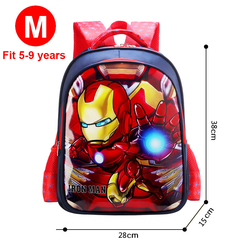 Child Captain America Book Bag Backpack For 5-9 Years old Boys Satchel Iron Man