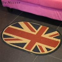 DeMissir 51x76cm Jute Linen Braided Oval Vintage Old UK Flag Carpet Floor Woven Door Mat Living