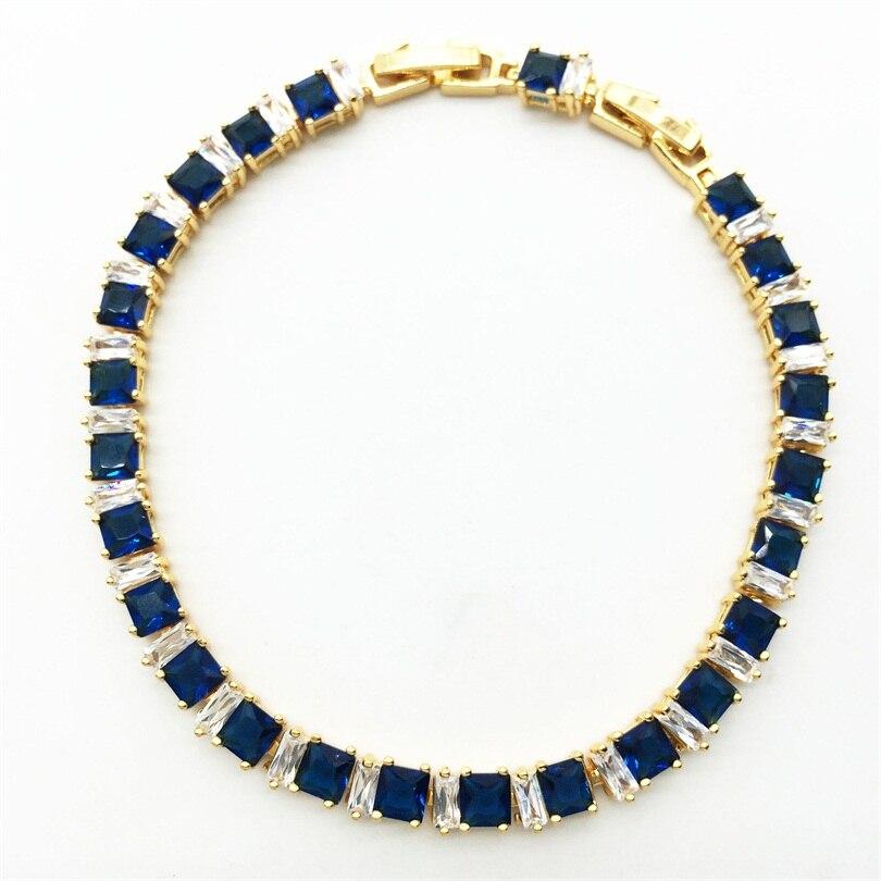 ₪Oro color joyas azul Montana blanco mujeres enlace cadena pulseras ...