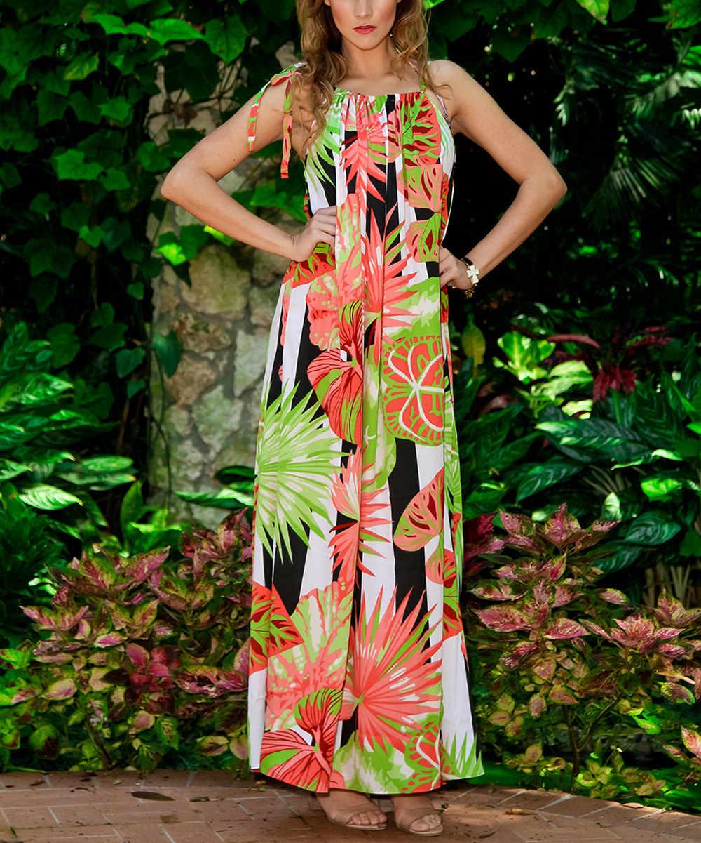 8babaf3ba73b6 ... Summer Women Palm Leaves Dress Bandage Halter Bohemian Boho Dress  Floral Print Hawaii Beach Long Maxi