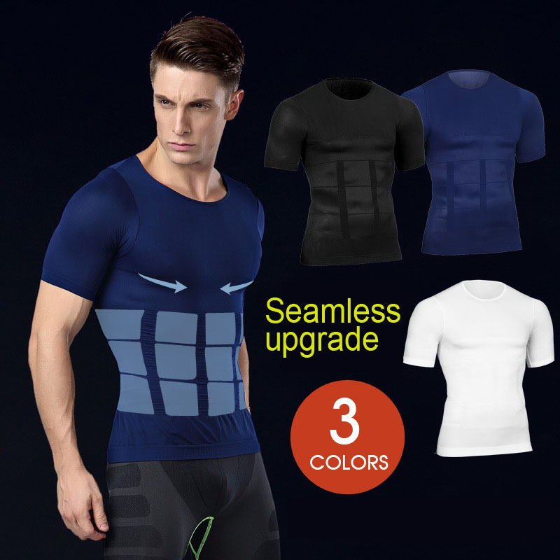 Hot Men Shaper Vest Body Slimming T Shirt Male Belt Modeling Strap Tummy Belly Waist Girdle Compression Shirt Shapewear