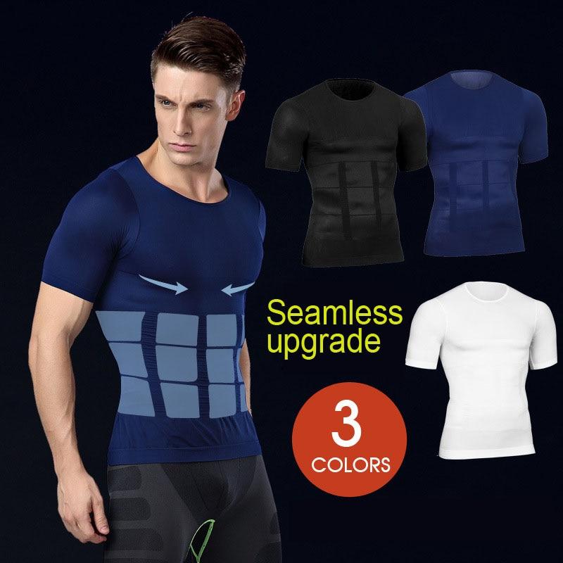 Hot Men Shaper Vest Body Slimming T shirt Male Belt Modeling Strap Tummy Belly Waist Girdle Compression Shirt Shapewear