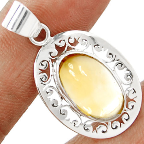Hand make  Genuine Citrine Pendant , 100%  925 Sterling Silver, 39mm, 5.5g,  KP0158