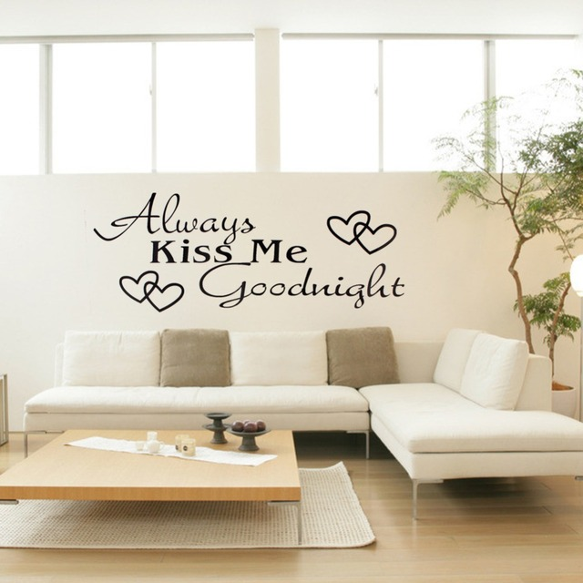 Always Kiss Me Goodnight Wall Sticker Quote Words Room Decor Art Wall  Stickers Mural Decal Living