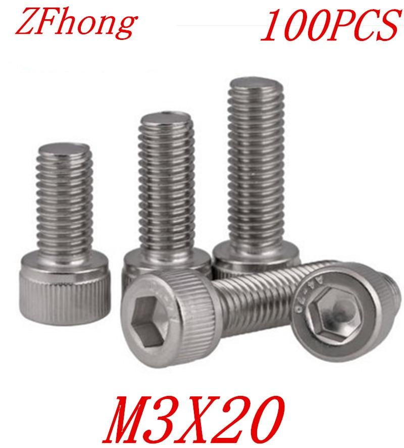 100 ШТ. A2-70 DIN912 m3 * 20 м3 х 20 из нержавеющей стали 304 с шестигранной головкой винт с головкой под ключ