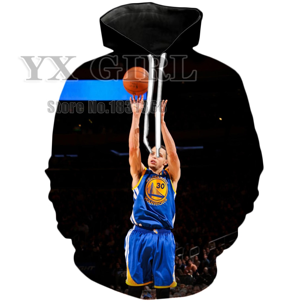 YX GIRL Brand 2018 The New Autumn Hoodies Mens Womens Celebrity Stephen Curry Character 3D Print Pullover Casual Tracksuits