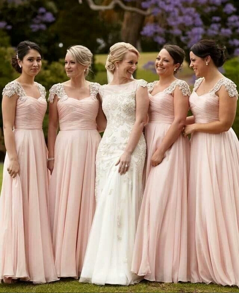 Popular Chiffon Blush Pink Bridesmaid Dresses with Sleeves-Buy ...