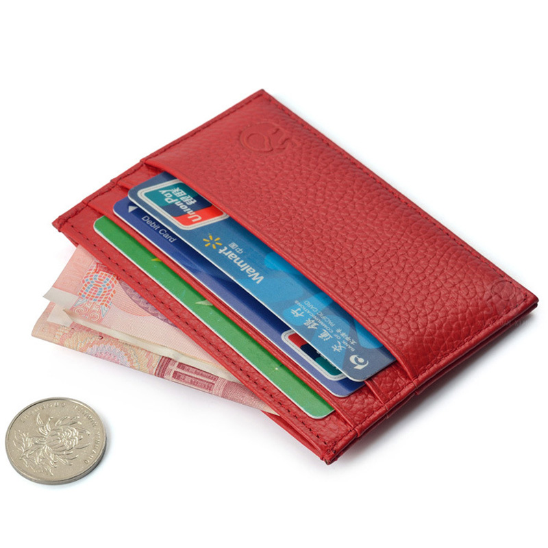 New Genuine Cow Leather Credit Card&ID Card Holders Wallet Business Bank Card Bag Case Coin Purse Unisex Men&Women men business credit card holder slim genuine leather card holders men purse cow 10 slots wallet for man high quality famous bag
