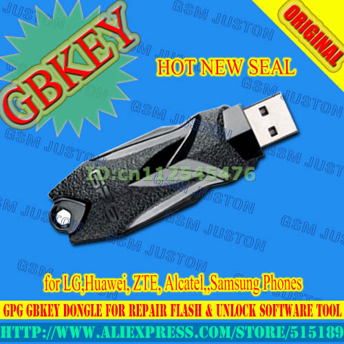 Envío libre, gpg gbkey gb key dongle-repair flash & unlock tool software de huawei, zte, alcatel, para lg, samsung teléfonos