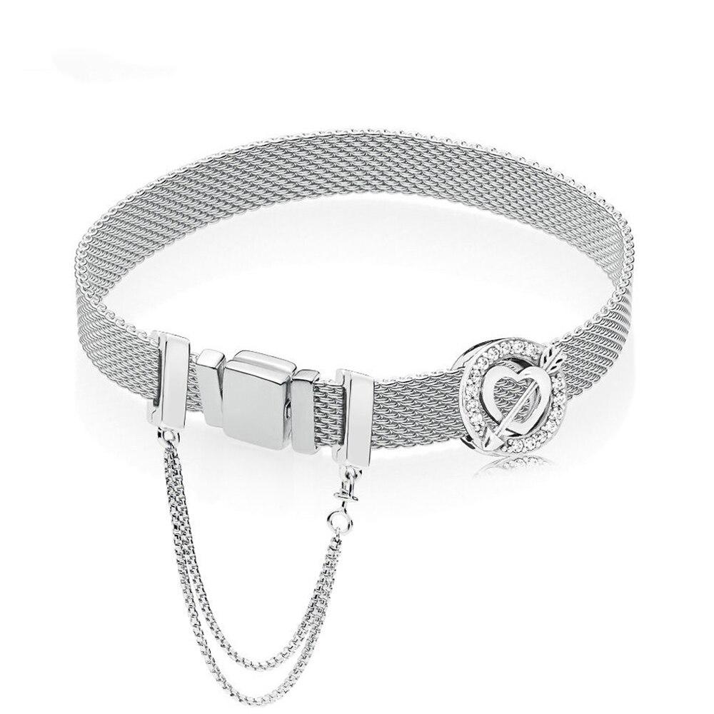 2019 Authentic 925 Sterling Silver Reflexions Asymmetric Hearts Bracelet Set Fit Pan Bracelet DIY Jewelry Bangles