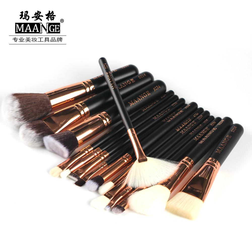 MAANGE 8/15 Pcs Professional Makeup Brushes Set Powder Foundation Eye shadow Blush Blending Lip Make Up Beauty Cosmetic Tool Kit 15 pcs professional makeup brushes set power foundation eyeshadow blush blending make up beauty cosmetic tools kits hot