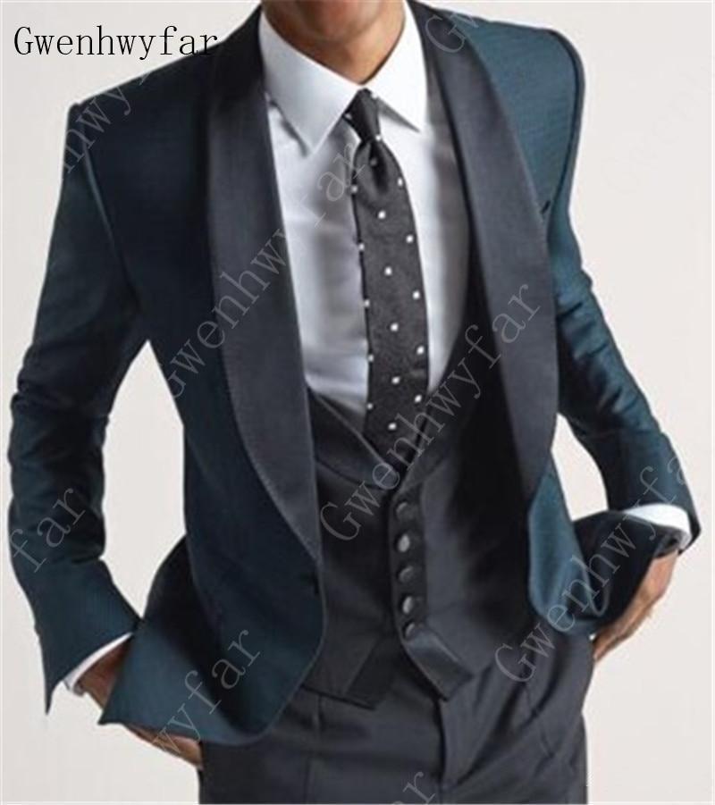 Erkek Kıyafeti'ten T. Elbise'de Yakışıklı Groomsmen Şal Yaka Damat Smokin Erkek düğün elbisesi Erkek Ceket Blazer Balo Akşam Yemeği 3 Parça Takım Elbise (Ceket + Pantolon + yelek)'da  Grup 1