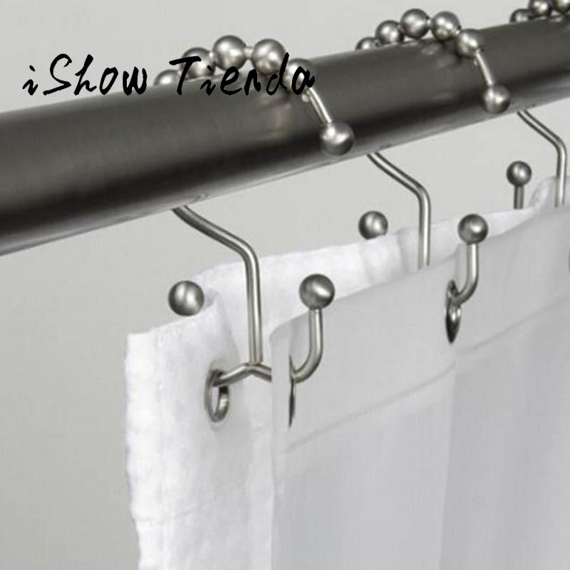 Metal Double Glide Bathroom Shower Curtain Hook Ring Roller Balls Chrome 12 Count Shower Rod with Stainless Steel Metal Hot #35