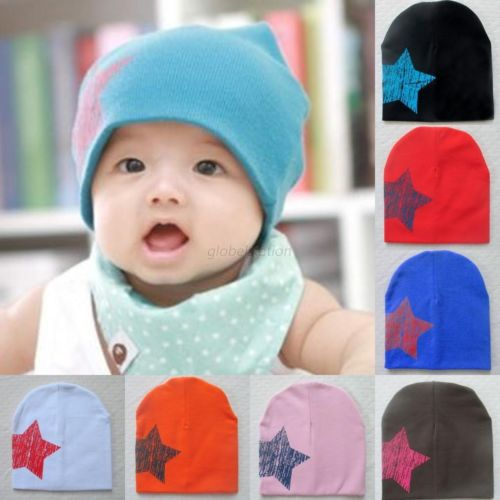 Cute Baby Kid Toddler Stars Print Hat Soft Warm Cotton Girl Boy Beanie Cap 0-3Y Free Shipping