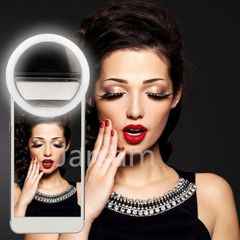 Selfie LED anillo Flash luz Portátil teléfono Selfie lámpara Clip luminoso Cámara fotografía vídeo proyector lente luz para movil