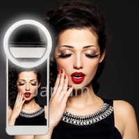 Selfie LED anillo Flash luz Portátil teléfono Selfie lámpara pinza luminosa Cámara fotografía foco para vídeos lente luz para movil