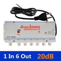 US Plug 1 in 6 out CATV TV Video Signal Amplifier AMP Antenna Signal Booster Splitter AC 220V 50-60Hz TV Antenna