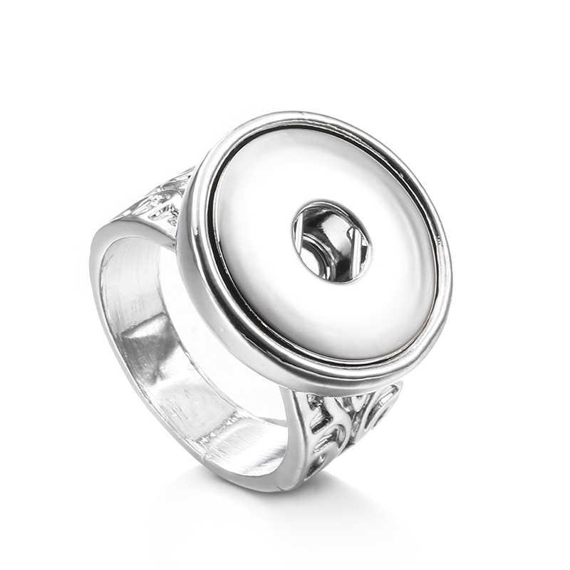 קסם רטרו מצליפה טבעת Fit 18mm מתכת הצמד כפתורי DIY תכשיטים טבעת TZ527