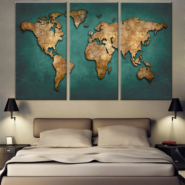Online shop 3 panels large vintage world map canvas painting prints 3 panels large vintage world map canvas painting prints modern abstract wall art 3 pieces home decor picture poster no frame gumiabroncs