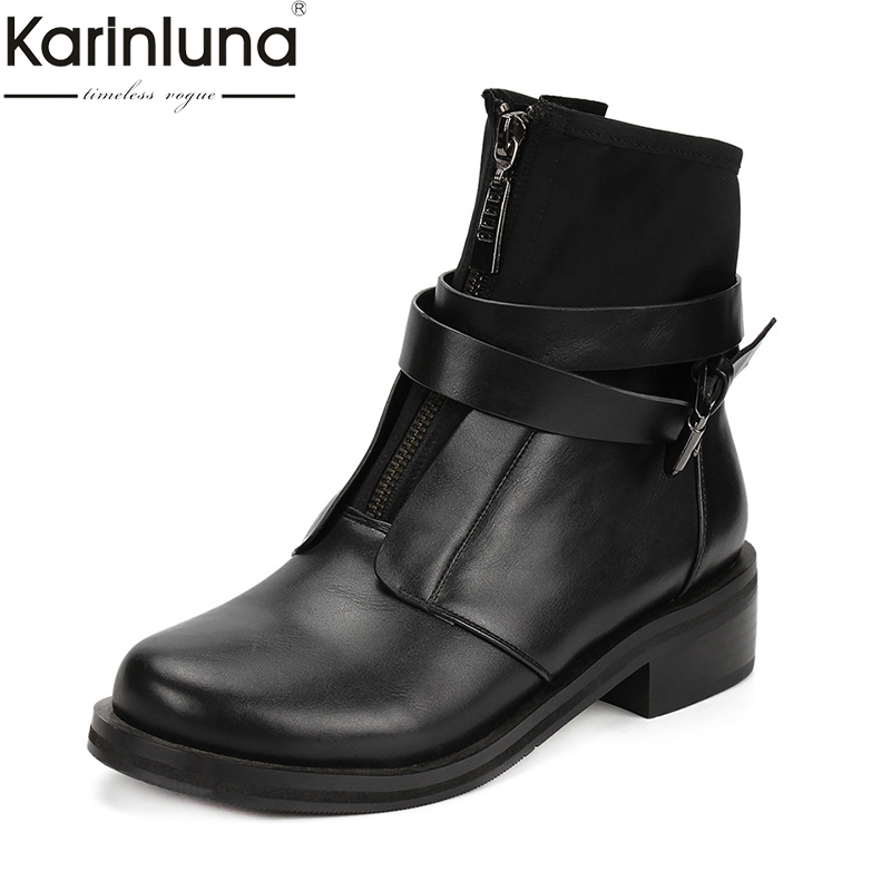 Karinluna Brand Design Big Size 42 Chunky Heels Zip Up Ankle Boots Woman Shoes Buckle Decoration
