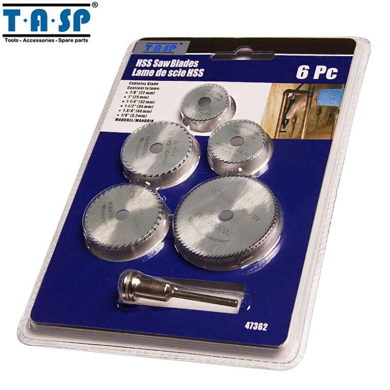 TASP MMD001SP3 6 stücke Mini Kreissäge Klinge Set HSS Schneiden Disc Dreh Bohrer Werkzeug Zubehör für Holz Kunststoff und aluminium