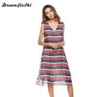 Dreamjieshi Sexy Transparent Hit Color Striped Long Dress Women Deep V Neck Chiffon Summer Dress 2017
