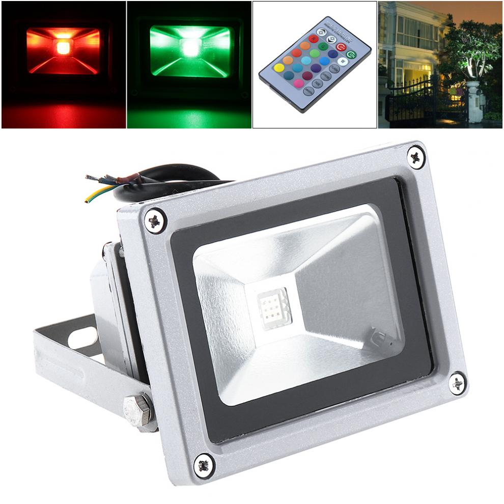 New Colorful 10w 1000lm Security Lamp Waterproof Ip65 Led Rgb Floodlight With Remote Control Support 90-240v For Garden/ Outdoor Floodlights Outdoor Lighting