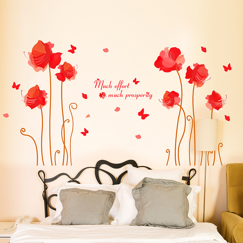 Red flowers wall art living room diy removable wall poster bedroom room wall decals home decoration wallpaper wall applique in wall stickers from home
