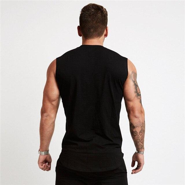 2019 חדש חדרי כושר גופיות גברים אלסטי כותנה אפוד O-צוואר חדרי כושר גופייה גברים שרוולים חולצות שרירים גברים כושר חולצות