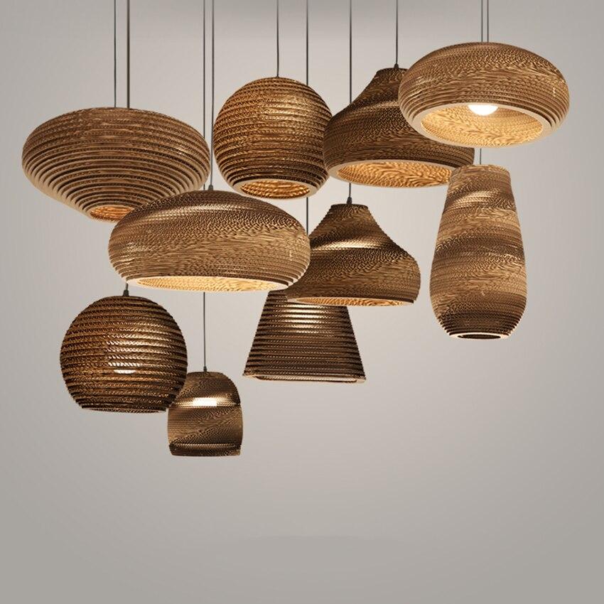 Vintage papier nid d'abeille pendentif LED lumières moderne salon Restaurant intérieur Bar pendentif lampes décoration éclairage Luminaire