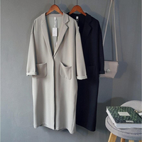 Women Chiffon Coats Black Gray Spring Women Coat Casual Loose Coat Bat Sleeved Open Stitch Trench