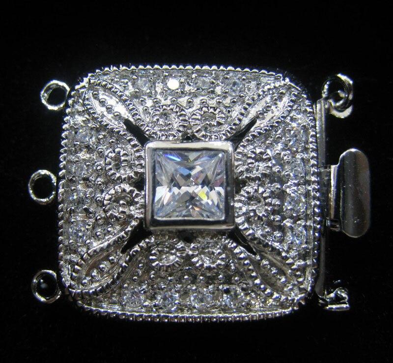 En gros Qualité raffiné diy plaqué or perle cristal collier bracelet fermoir carré boucle