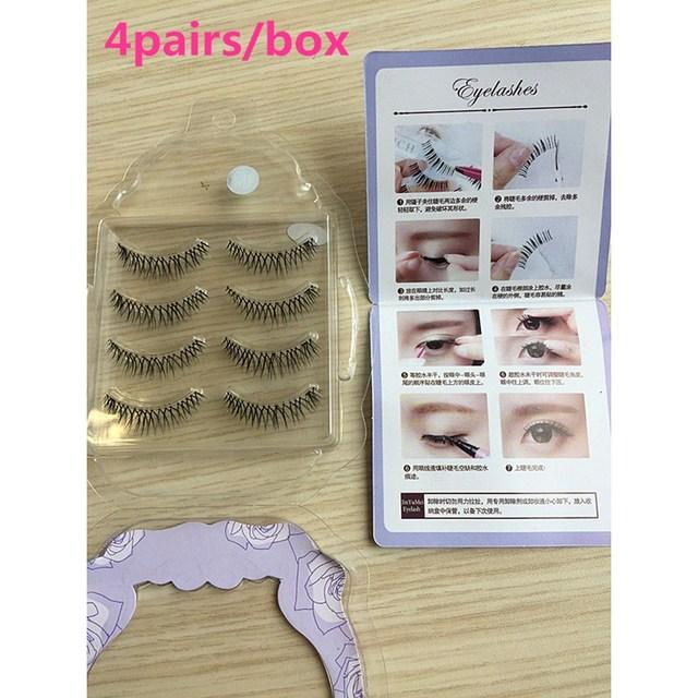 ba4ca41cd1c 4pairs/box Mink Eyelashes 4D Mink Lashes Thick HandMade Full Strip Lashes  Cruelty Free Mink