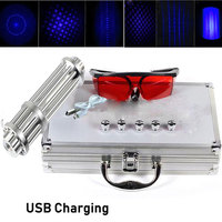 Most Powerful Burning Blue Laser Pointers USB Rechargeable Built in Battery Laser Torch 450nm 10000m Focusable Flashlight