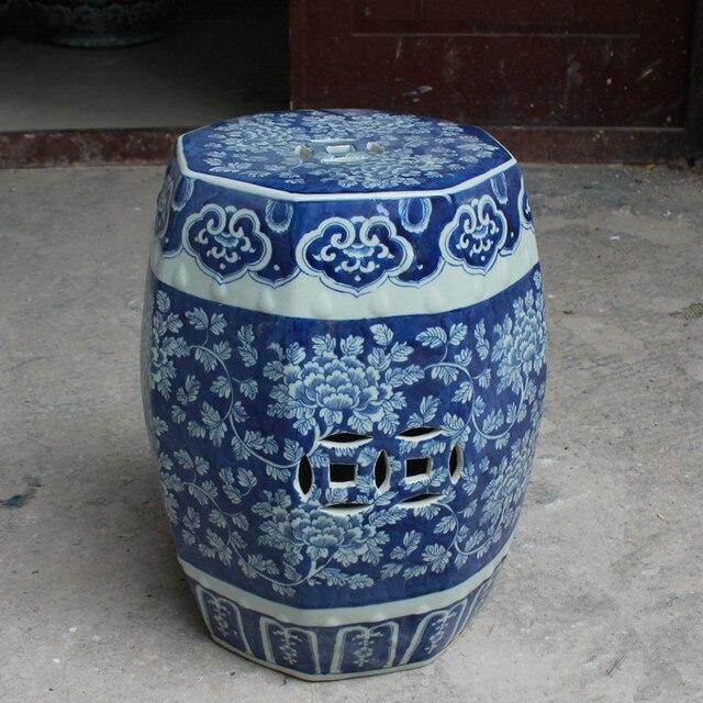 Антикварный стул для туалетного столика Барабаны стул китайский фарфор Сад Табурет Керамика Цзиндэчжэнь античный голубой китайский Барабаны стул