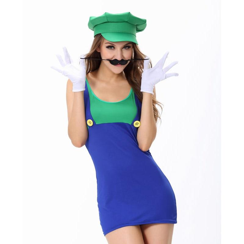 Adult Lady skirt Super Mario Luigi Bros Fancy Dress Halloween Costume Plumber