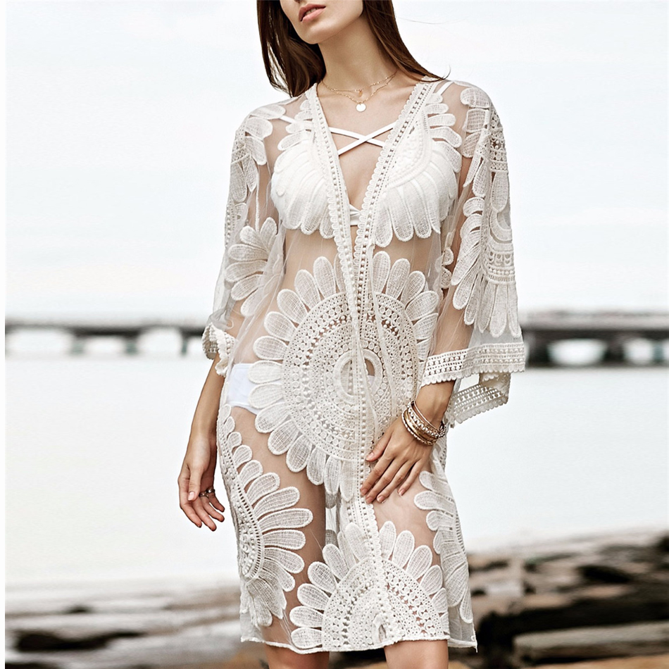 2019 Pareo Beach Cover Up Floral Embroidery Bikini Cover Up Swimwear Women Robe De Plage Beach Cardigan Bathing Suit Cover Ups in Cover Ups from Sports Entertainment
