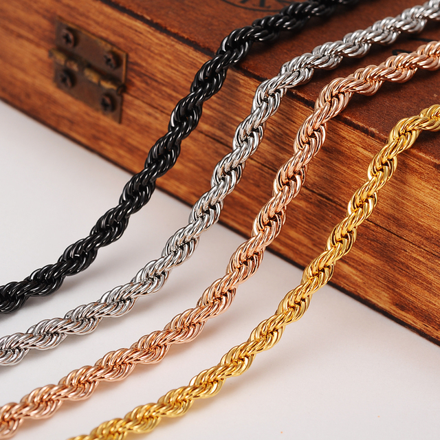 CubanChain Necklace Trendy copper 5MM Width gold black silver rose