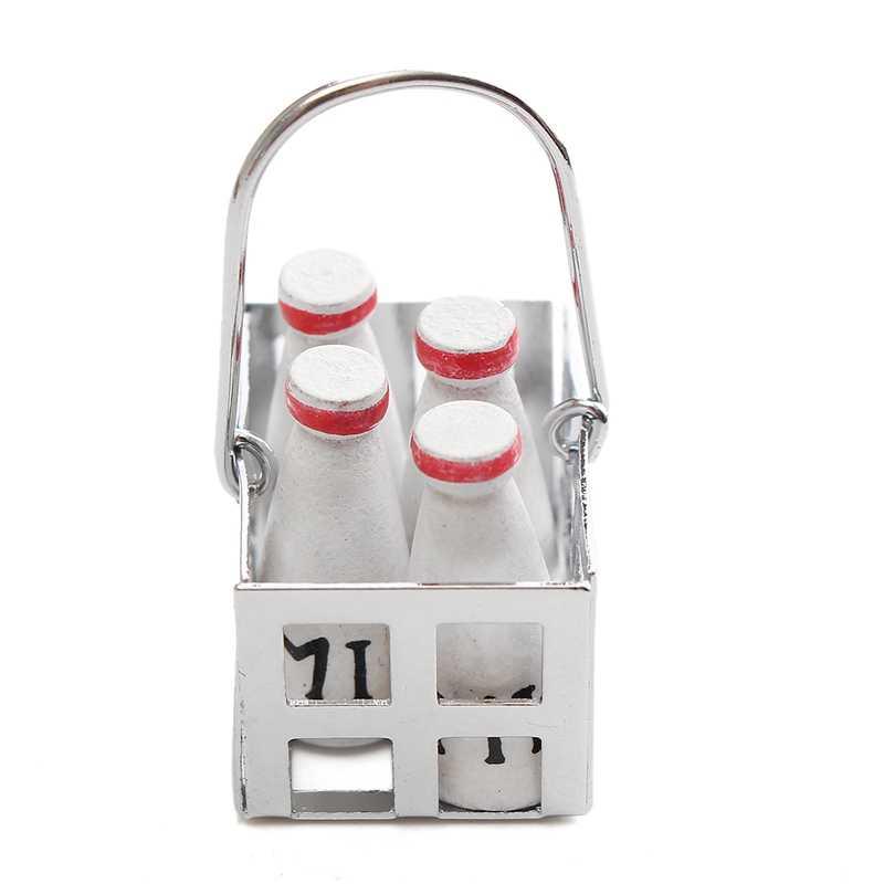 Venda quente Bonito 1 Conjunto 1/12 Escala Cesta De Leite e Leite Branco garrafa casa de Boneca Brinquedo Crianças Brinquedos Brinquedos Móveis casa de Bonecas Em Miniatura de Alimentos