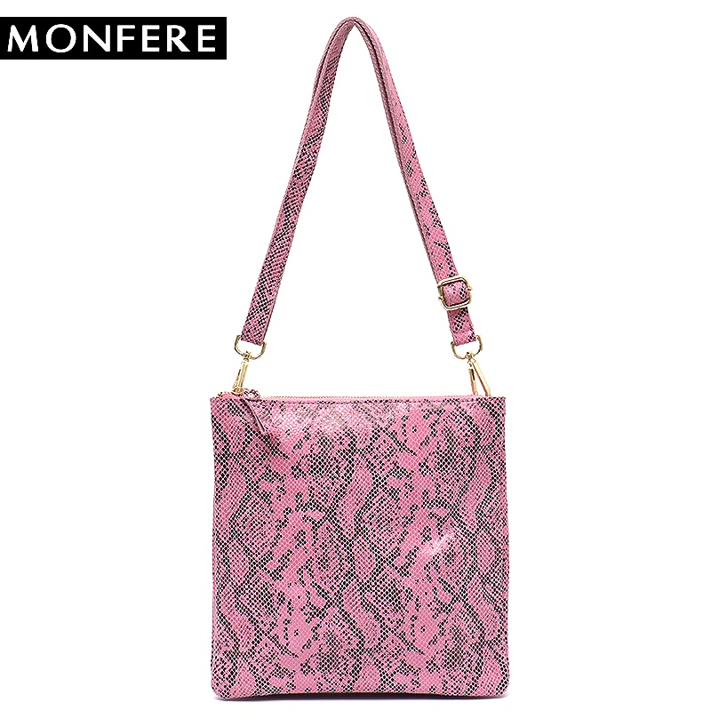 MONFERE Brand Fashion Snake Print Leather Cross body Bags Girls Animal Leather Shoulder Flap Double Zip Pockets Messenger Bags red criss cross leaf print zip front tank