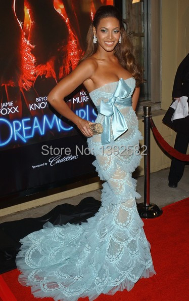 Beyonce Light Sky Blue Strapless Hard Tulle Lace Ruched Mermaid