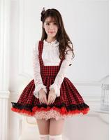 Sweet Japanese Style Super Adorable Red And Black Plaid Pleated Lace Jumper Skirt For Girl Free