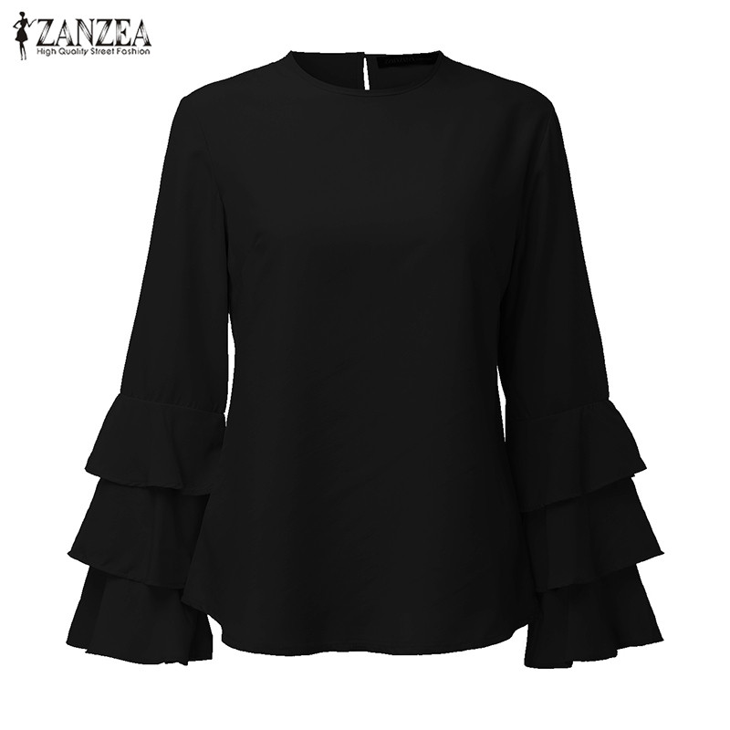 HTB1GVO OVXXXXchXVXXq6xXFXXXI - Women Blouses Shirt Elegant Ladies O Neck Long Flare Sleeve