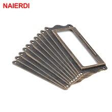 10pcs NAIERDI Antique Brass Handle 64*32mm Label Pull Frame Name Card Holder Cabinet Drawer Box Case Knob For Furniture Hardware