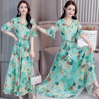 2018 New Arrival Women's Dress Bohemian Floral Sea Travel Women's Dress Puls Size Long Women's Beach Dress, A204