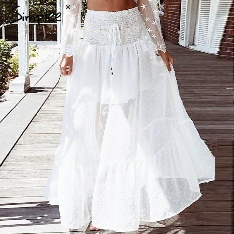 Simplee Mesh Dot Long Skirt Women Elastic Smocking White -2113
