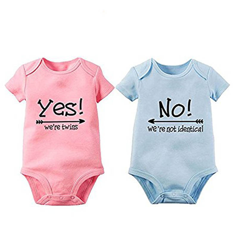 YSCULBUTOL 2 pcs /lot more color cotton short sleeve yes no cute 2018 summer wear baby bodysuit