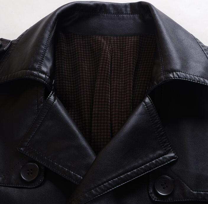 Double breasted leather coats men suits collar long coat mens leather trench coats thicken black autumn winter fashion M 4XL - 3